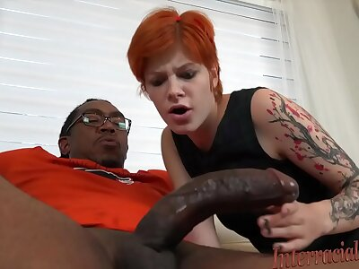 Young redhead Ava Fleeting disgraces paterfamilias wits hard interracial