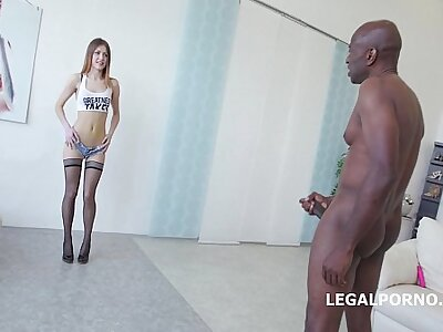 Ginger Lucifer gets deep fucked together with gaped non interrupt with Chubby Louring cock